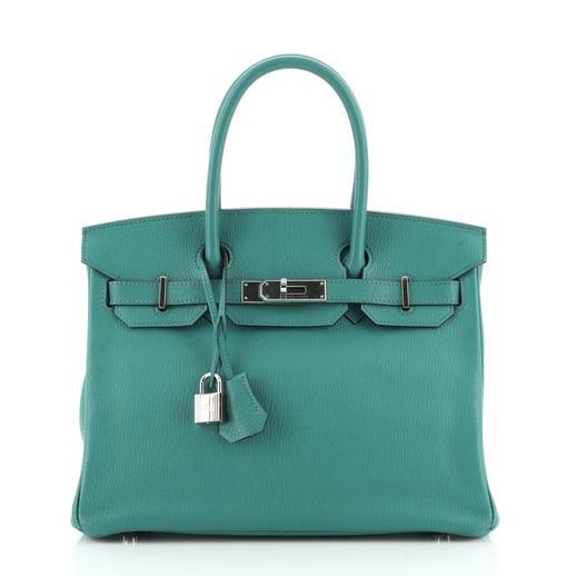 Hermes Bleu Paon Chèvre Mysore leather