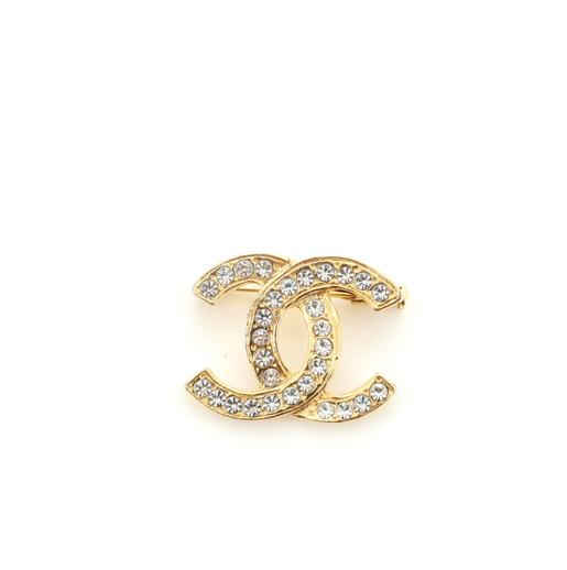 Chanel CC Brooch Crystal and Metal