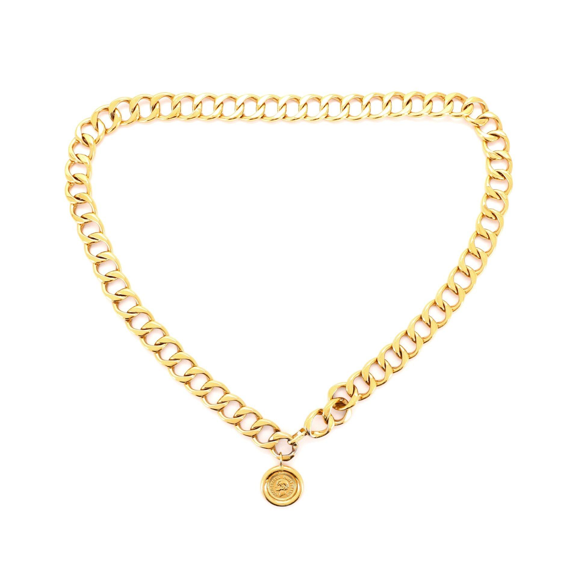 Chanel Vintage Medallion Chain Belt Metal 100