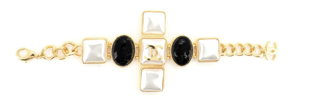 Chanel CC Cross Bracelet Metal with Cabochons