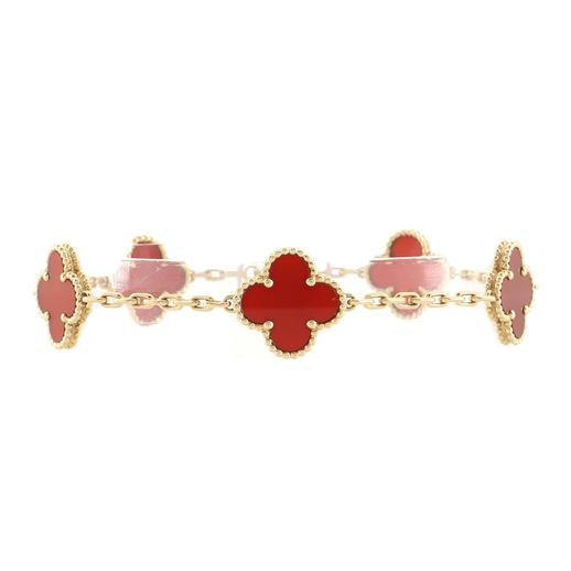 Vintage Alhambra 5 Motifs Bracelet 18K Yellow Gold and Carnelian