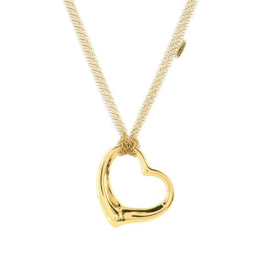 Elsa Peretti Open Heart Mesh Pendant Necklace 18K Yellow Gold 36mm