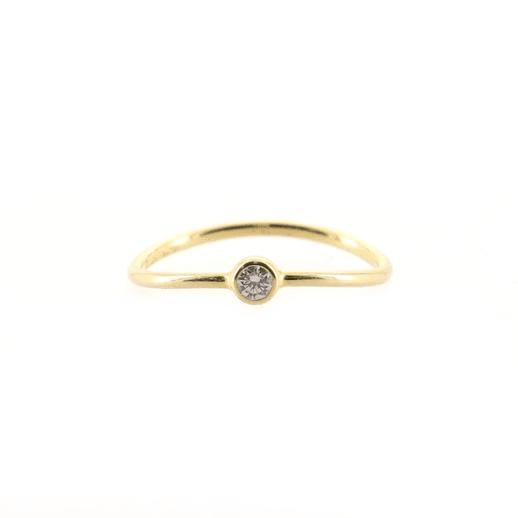 Elsa Peretti Wave Single-Row Ring 18K Yellow Gold and Diamond