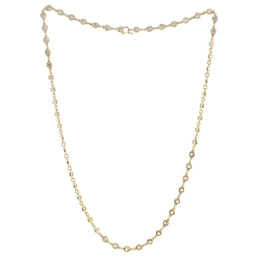 Elsa Peretti Diamonds By The Yard Continuous Necklace 18K Yellow Gold and Diamonds 4mm
