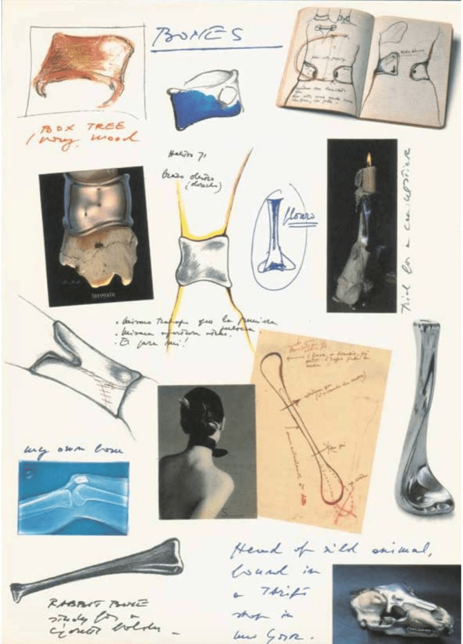 Sketches of bones from Elsa Peretti's 1990 book 'Fifteen of My Fifty.'