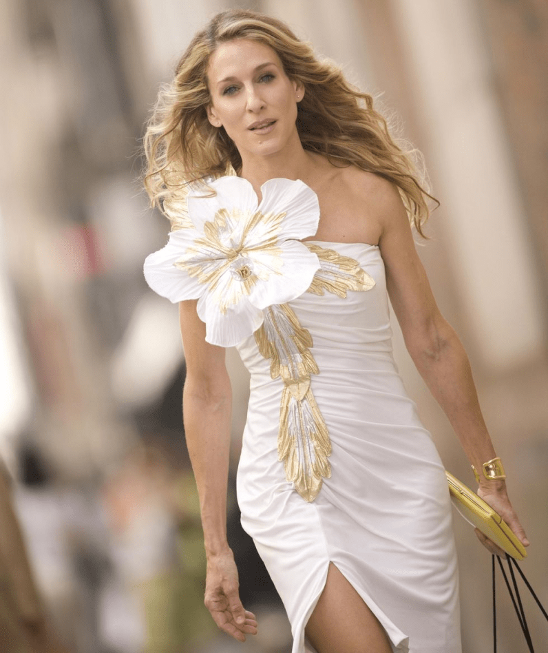 Sara Jessica Parker wears a Bone Cuff as Carrie in Sex and the City.