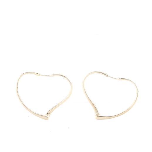 Elsa Peretti Open Heart Hoop Earrings Sterling Silver Medium