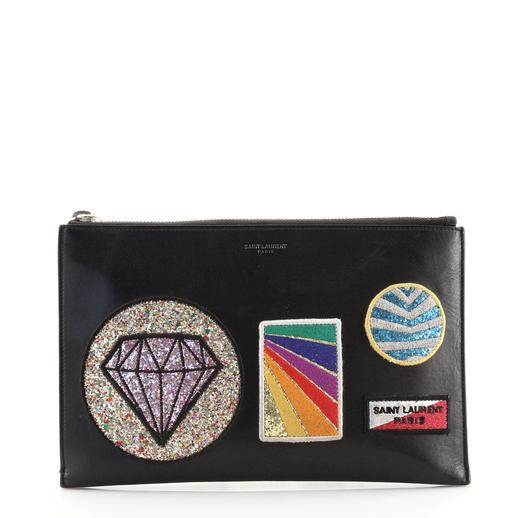 Saint Laurent Zip Pouch Patch Embellished Leather Small