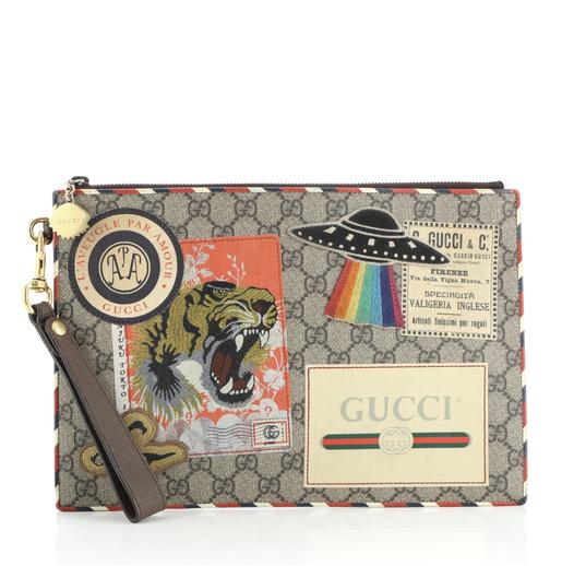 Gucci Courrier Pouch GG Coated Canvas with Appliqués