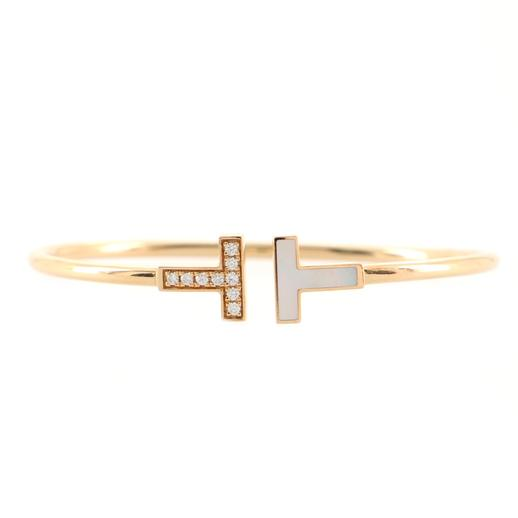 Wire Bracelet in 18K Rose Gold with Diamonds and Mother Of Pearl