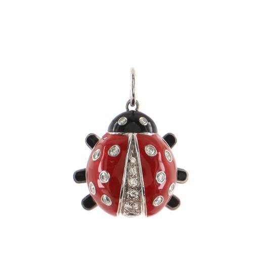 Ladybug Pendant Pendant & Charms Platinum with Enamel and Diamonds