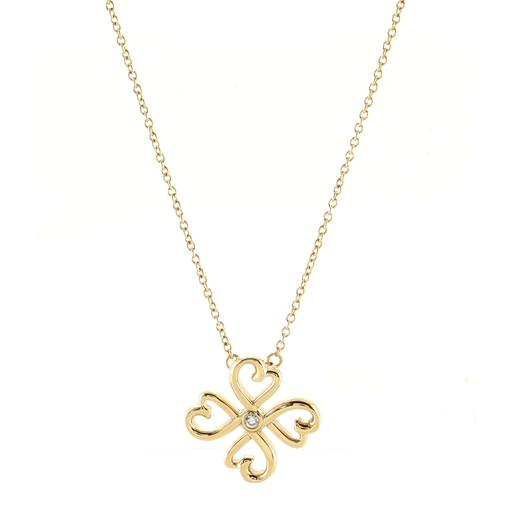 Paloma Picasso Loving Heart Pendant Necklace 18K Yellow Gold with Diamond