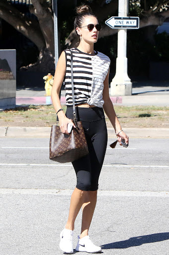 Alessandra Ambrosio wears a NéoNoé bag while running errands. Courtesy Star Style.