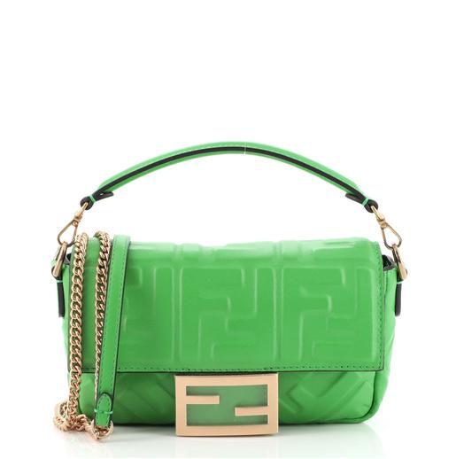 Baguette NM Bag Zucca Embossed Leather Mini