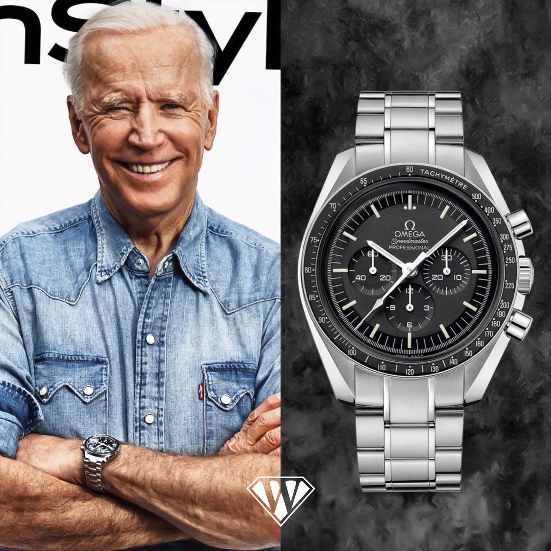 Joe Biden wearing an Omega Speedmaster in 2021.