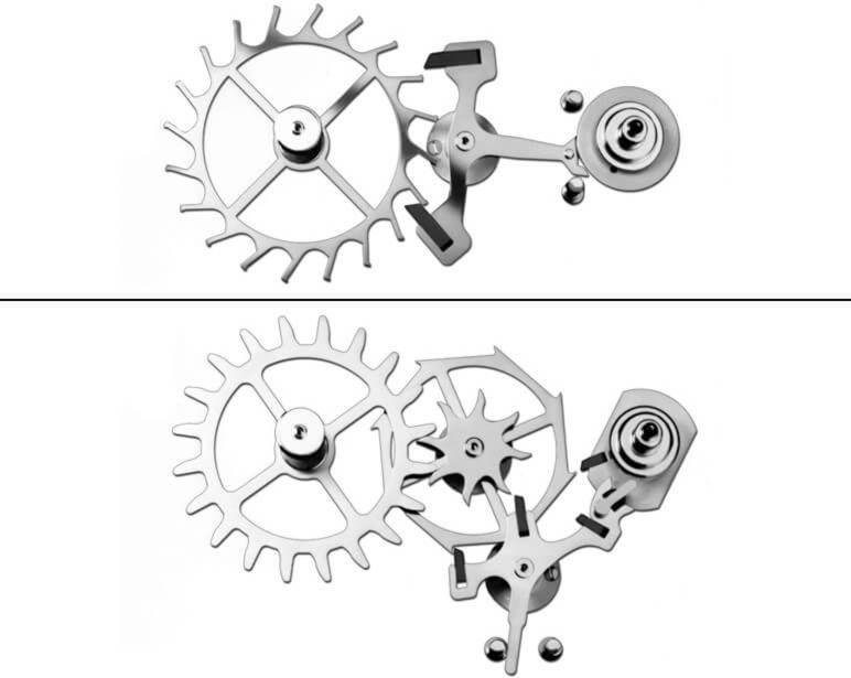 Above: A traditional lever escapement Below: Omega's Co-Axial escapement.