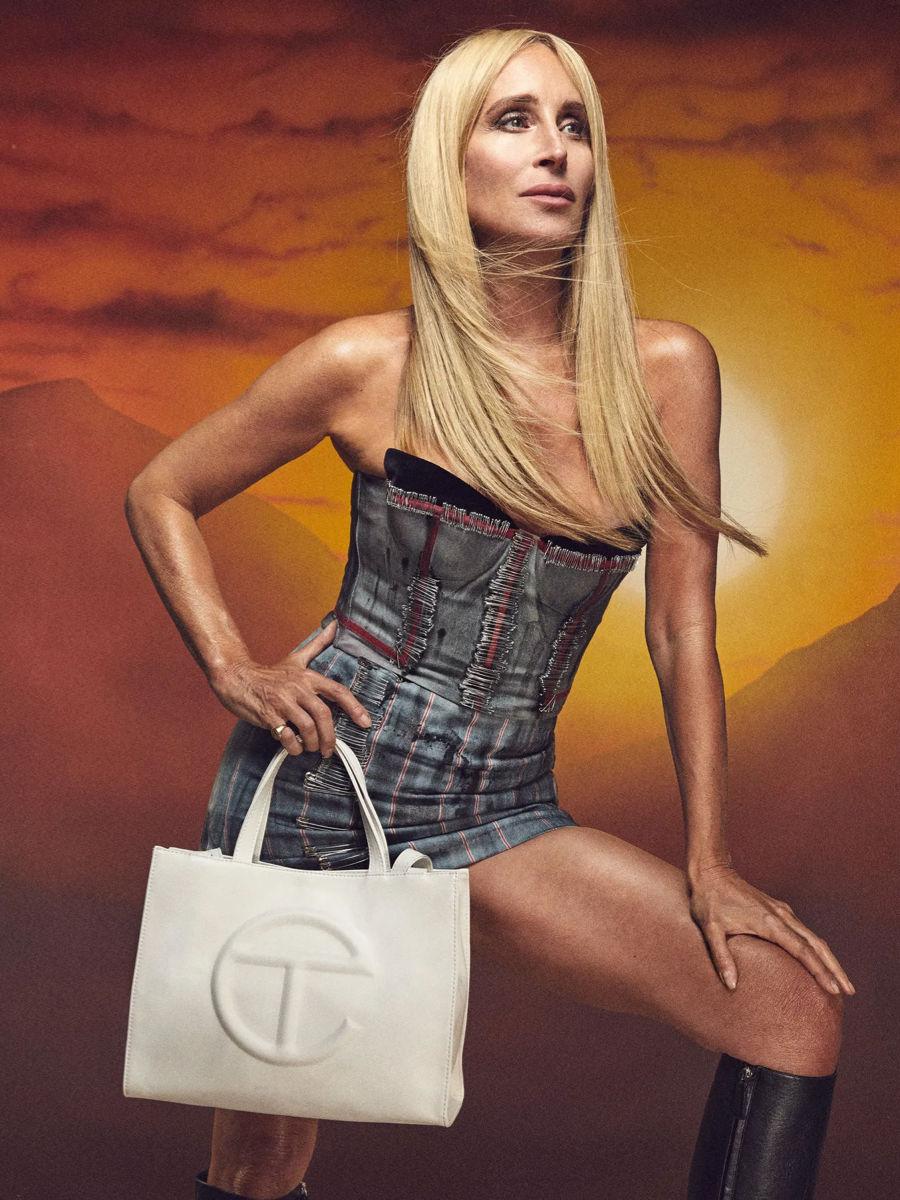 Sonja Morgan with a medium white Telfar bag