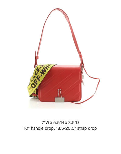 Off-White Binder Clip Flap Bag Stripe Embossed Leather Small